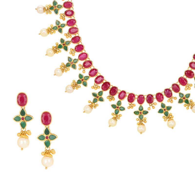 22k Gold Ruby Emerald Designer Necklace
