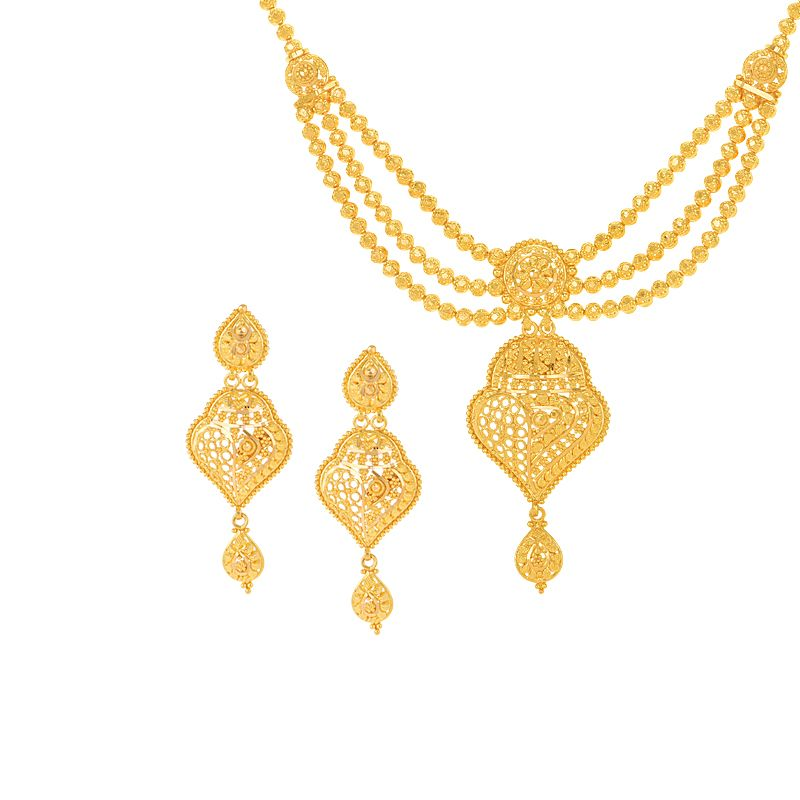 22k Gold Beaded Layered Gold Necklace