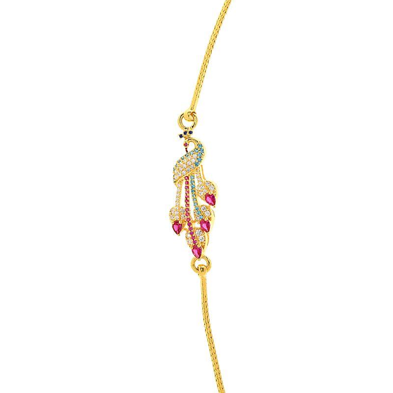 22k Gold Peacock Cz Mugappu Chain