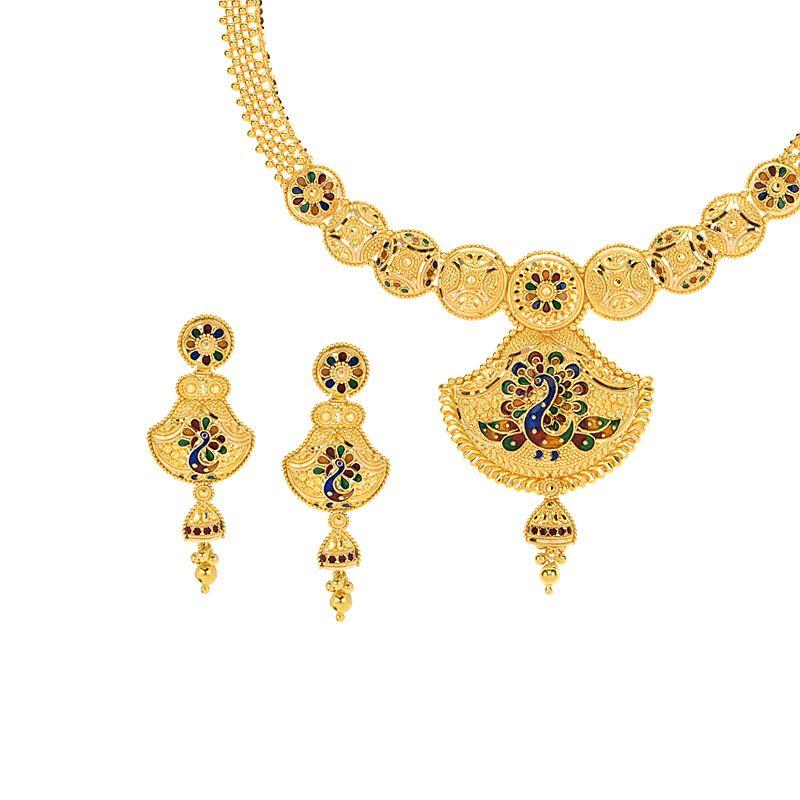 22k Gold Divine Mina Peacock Necklace