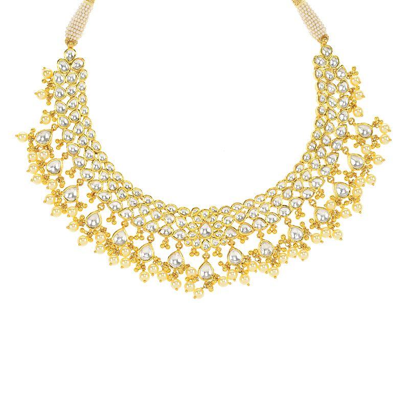22k Gold Designer Kundan Gold Necklace