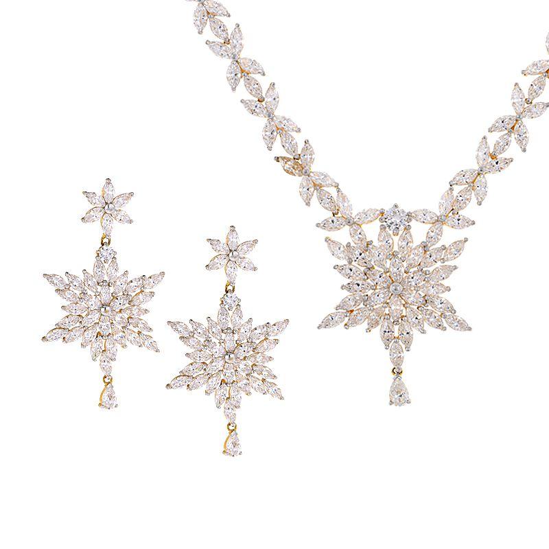 22k Gold Stardust CZ Necklace Set
