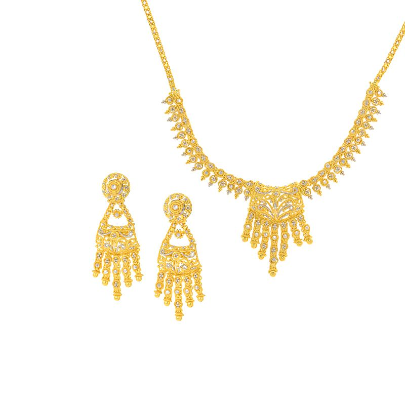 22k Gold Dangles Dokiya Necklace
