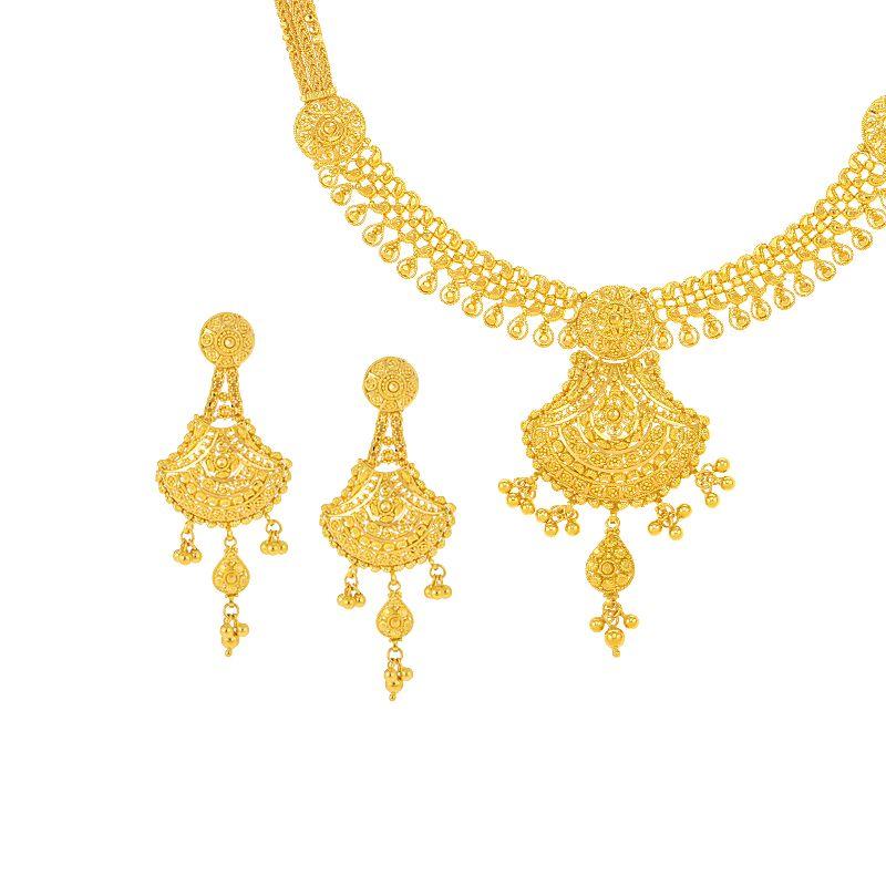 22k Gold Filigree Designer Collar Necklace
