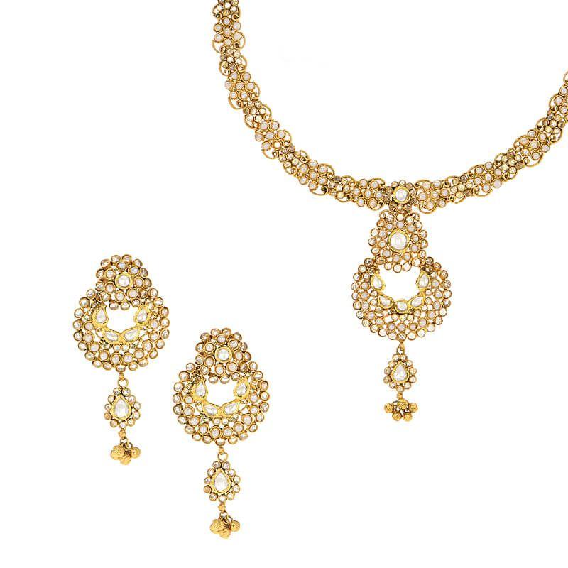 22k Gold Polki Pearl Necklace Set