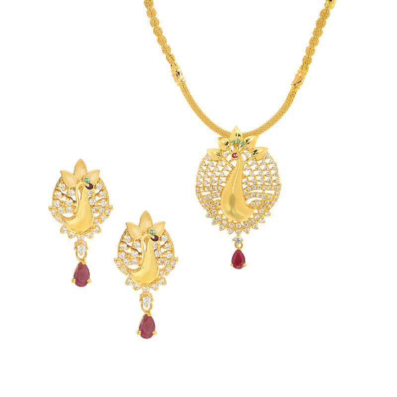 22k Gold Contemporary Peacock Necklace Set