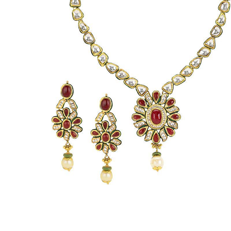 22k Gold Kundan Gems Gold Necklace