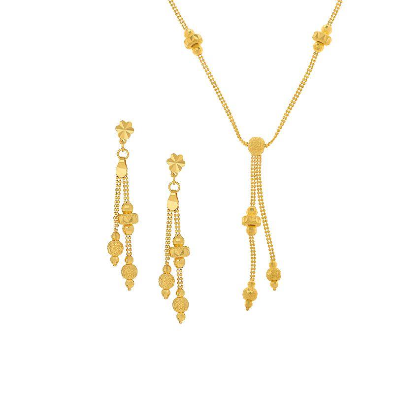22k Gold Disco Drops Tassel Necklace
