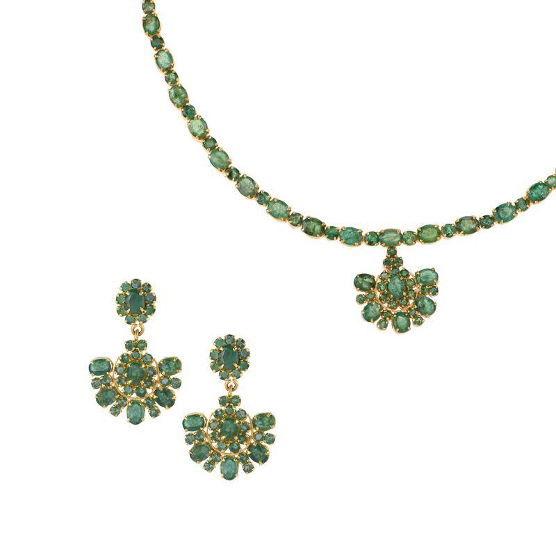22k Gold Florett Emerald Necklace Set