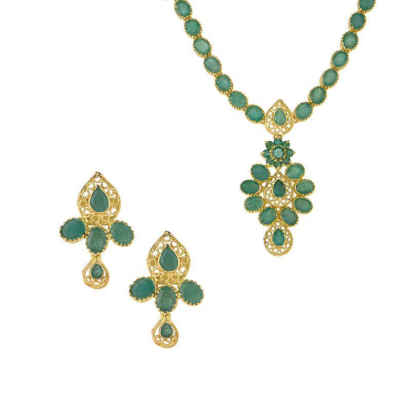 22k Gold Floreza Emerald Necklace Set
