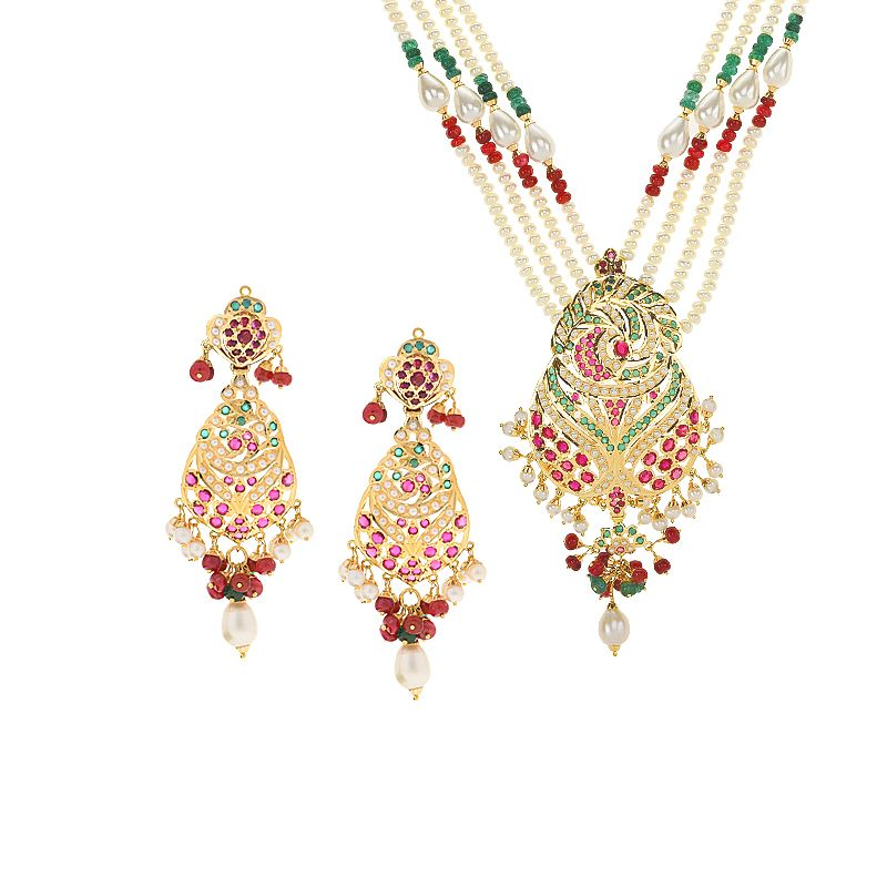22k Gold Pearl Gems Multi Strands Necklace
