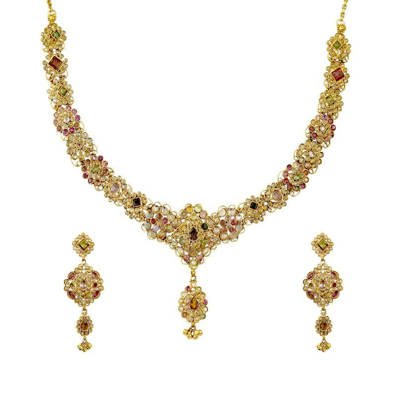 22k Gold Polki Color Stones Necklace