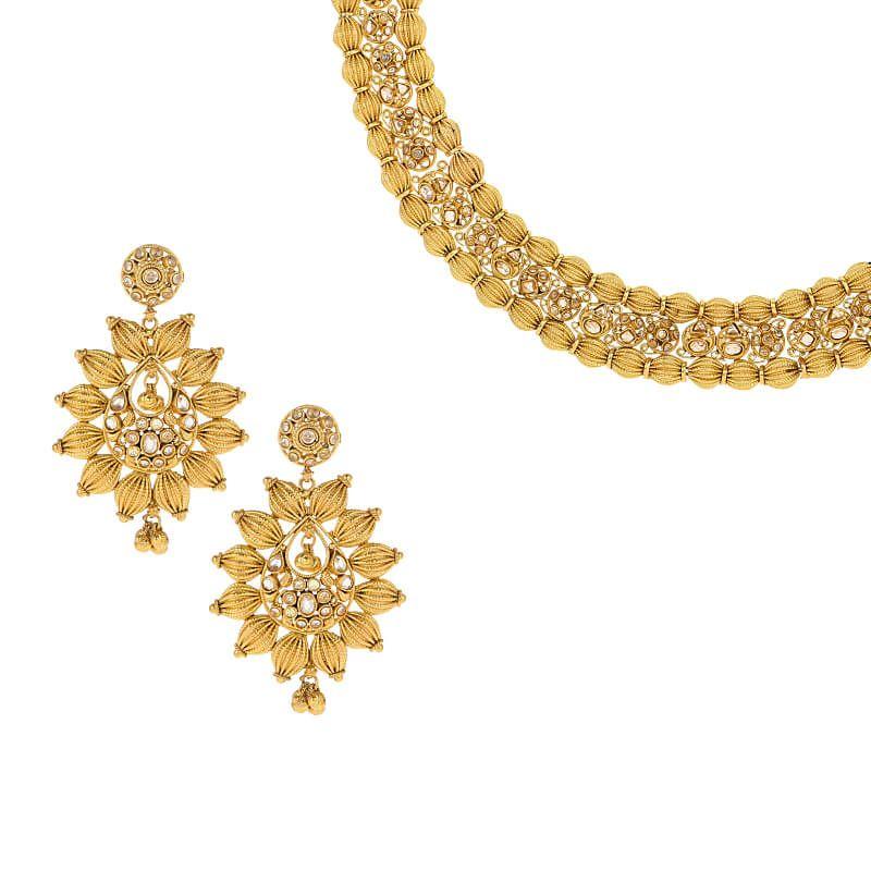22k Gold Beaded Design Polki Necklace