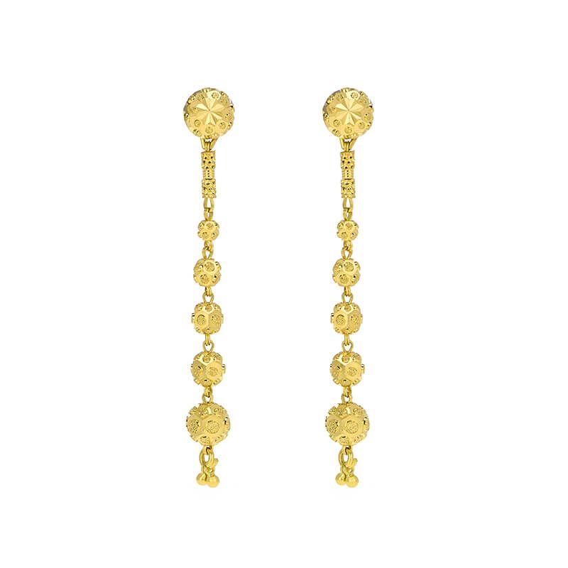 22k Gold Layered Balls Drop Earrings