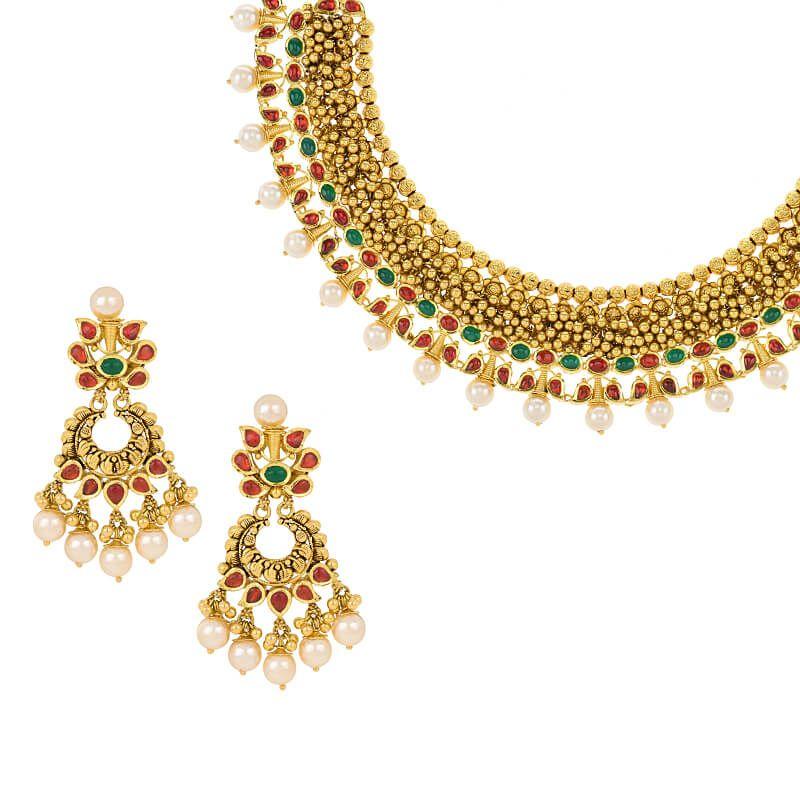 22k Gold Antique Gems Collar Necklace