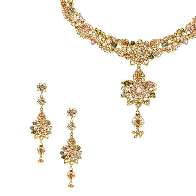 22k Gold Colorful Polki Gold Necklace