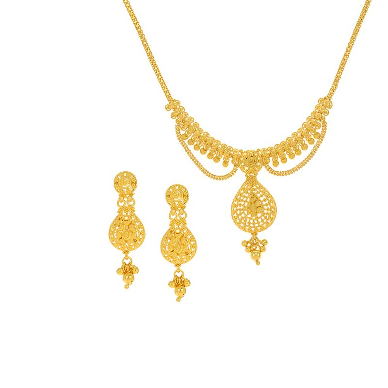 22k Gold Chained Motif Gold Necklace