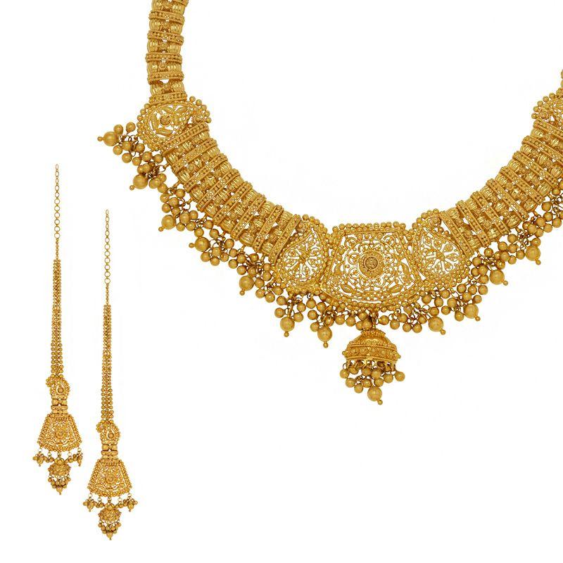 22k Gold Filigree Dangles Collar Necklace