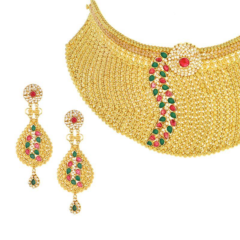 22k Gold Gems Choker Necklace Set