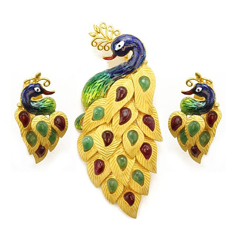 22k Gold Multicolor Peacock Pendant Set