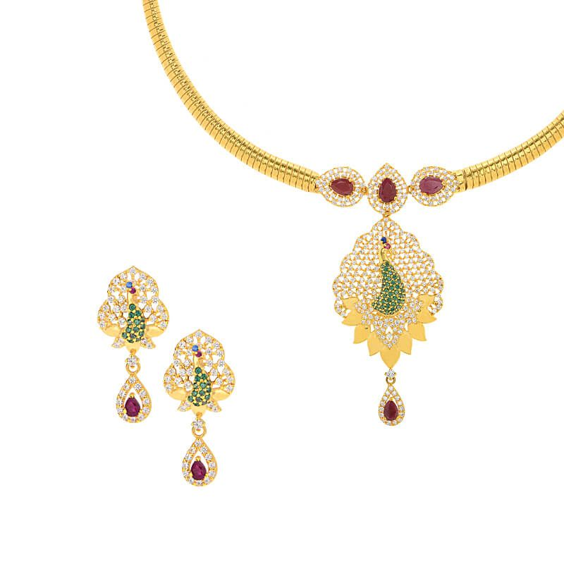 22k Gold Advika Cz Peacock Necklace