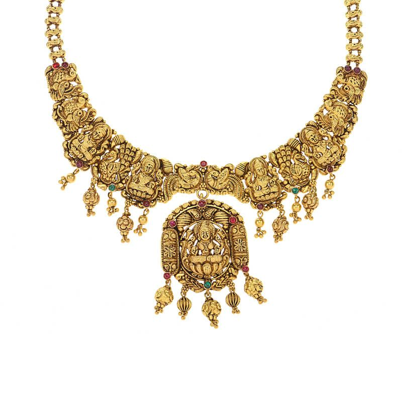 22k Gold Antique Ashta Lakshmi Necklace