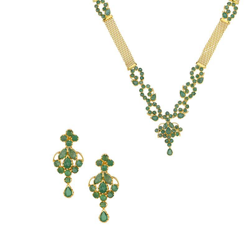 22k Gold Emerald Allure Designer Necklace