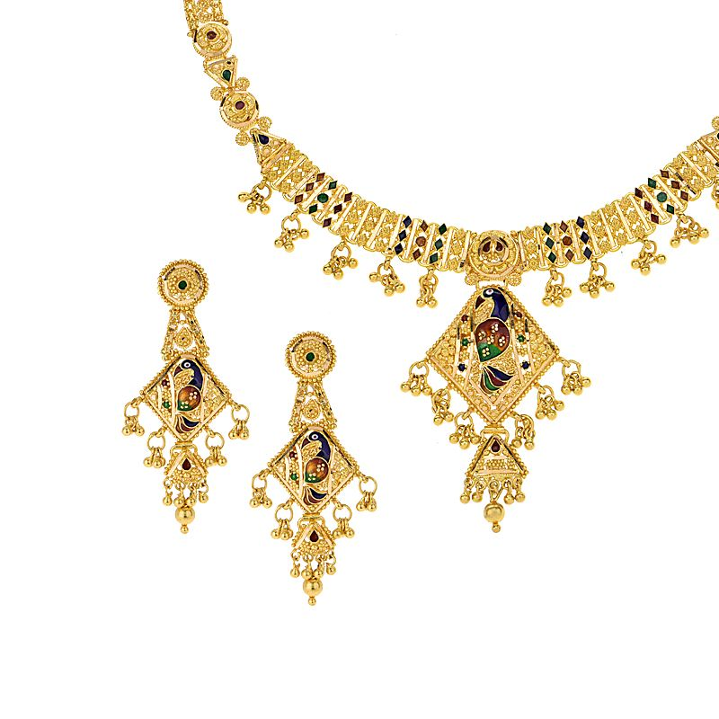 22k Gold Peacock Dangles Necklace Set