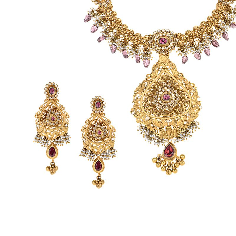 22k Gold Anilaja Pearls Necklace Set