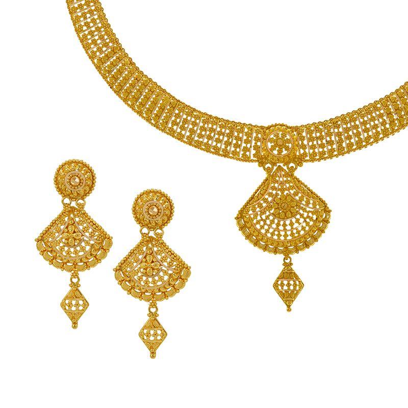 22k Gold Filigree Mesh Necklace Set