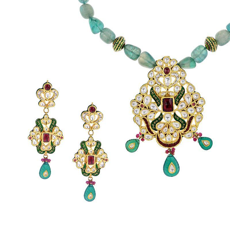 22k Gold Kundan Pendant Beads Necklace