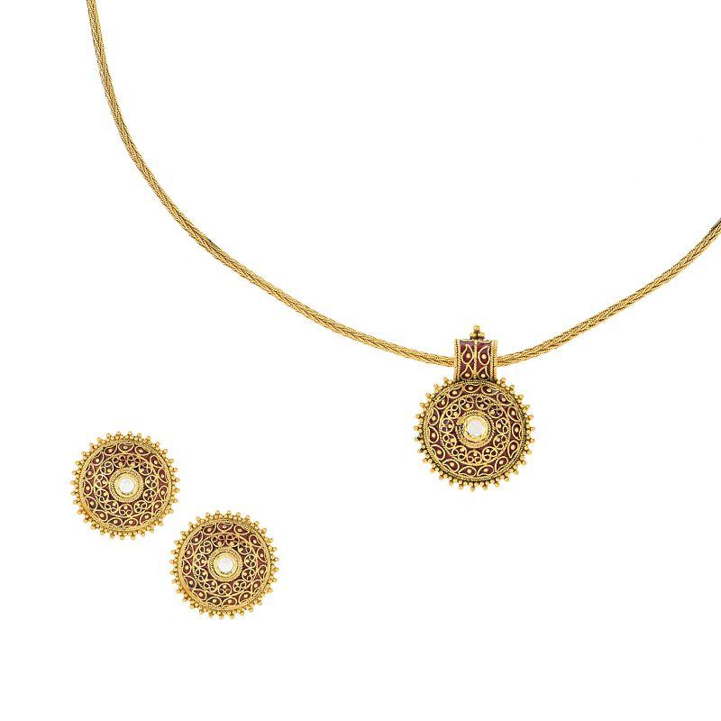 22k Gold Dainty Enamel Pendant Necklace