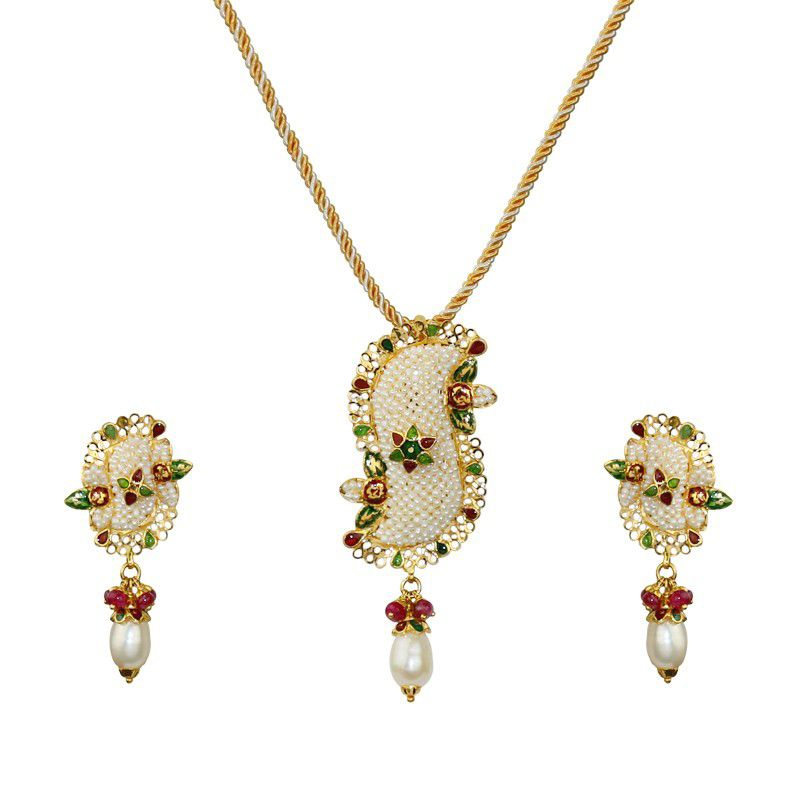 22k Gold Basra Pearl Pendant Necklace
