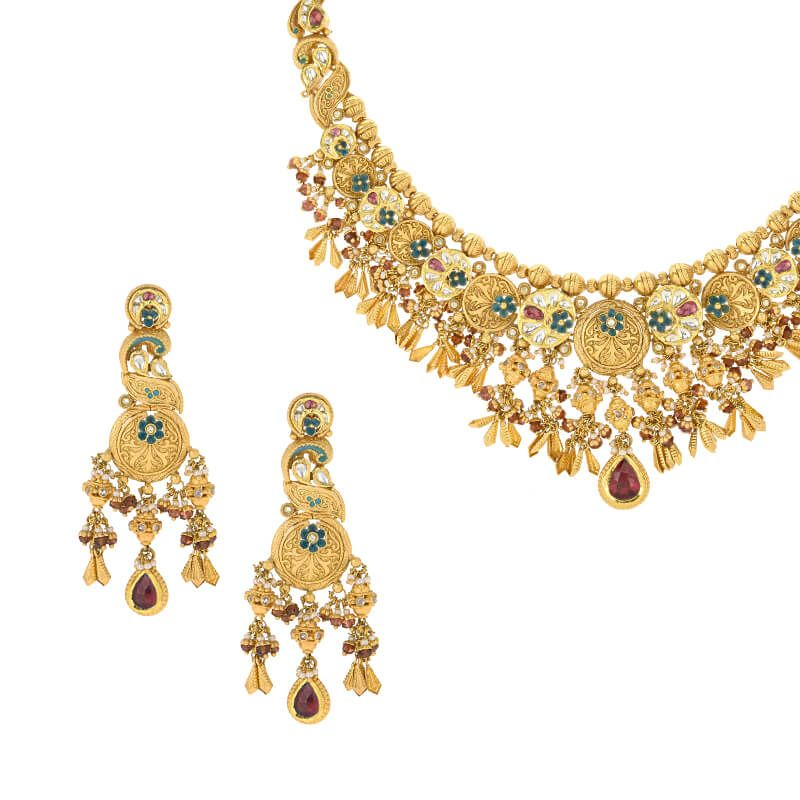 22k Gold Vrisham Antique Gold Necklace