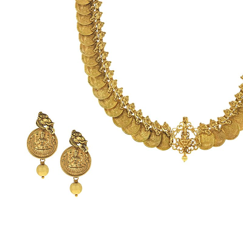 22k Gold Lakshmi Kasu Necklace
