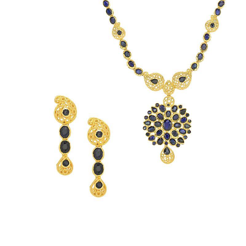 22k Gold Divine Sapphire Necklace Set