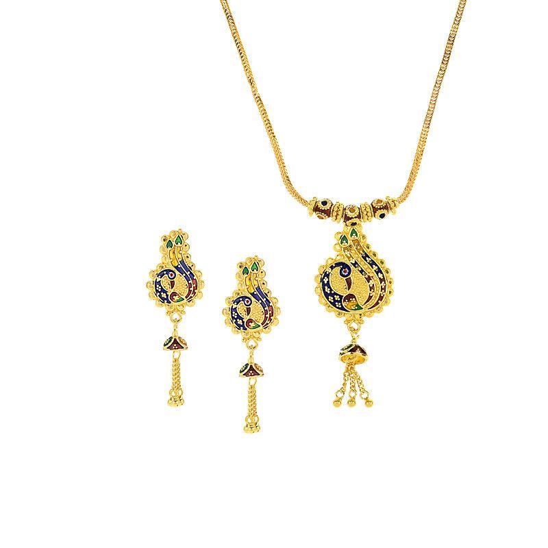 22k Gold Minakari Peacock Gold Necklace