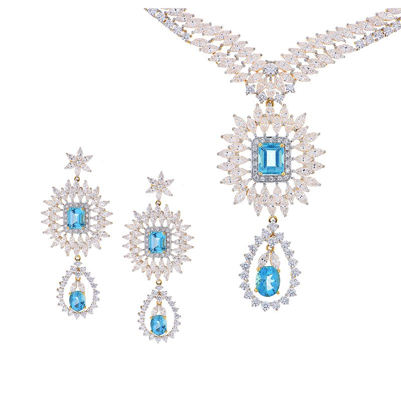 22k Gold Gala CZ Necklace Set