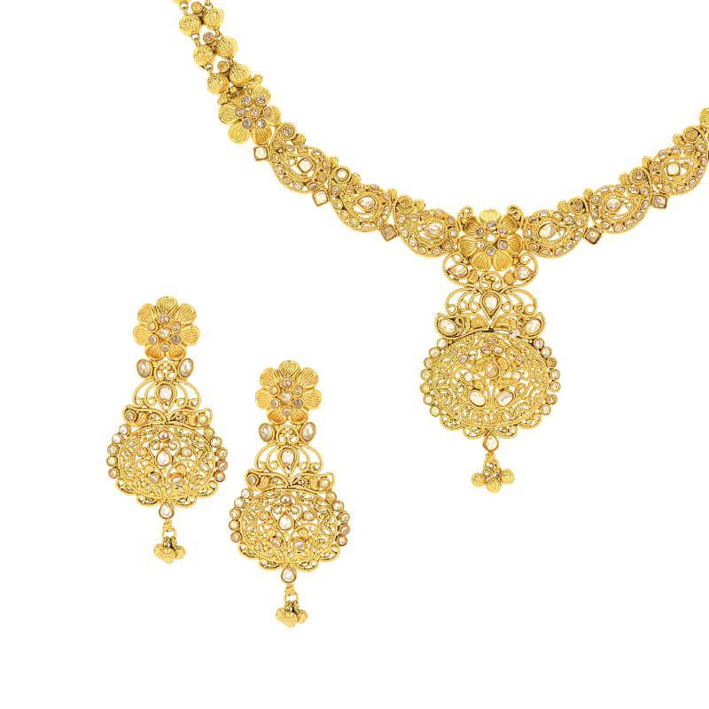 22k Gold Antique Polki Necklace Set