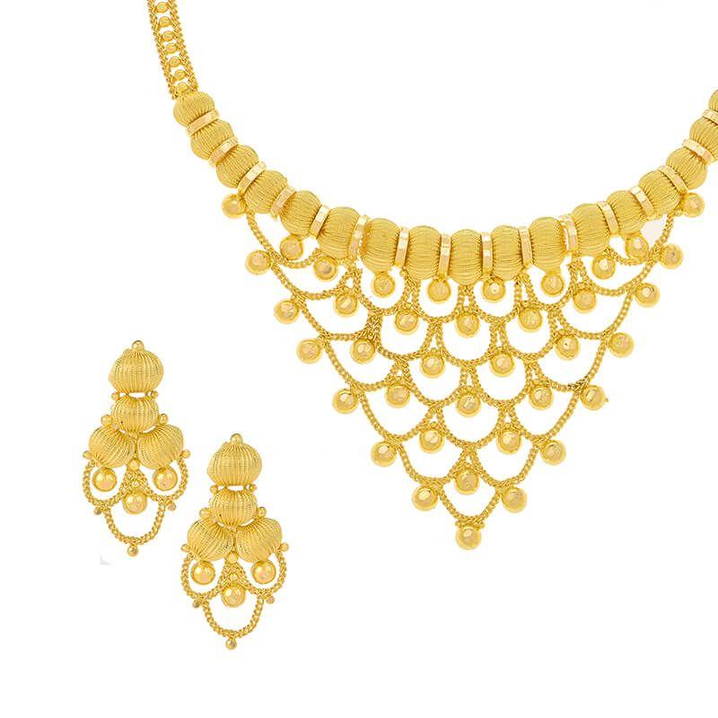 22k Gold Beaded Filigree Collar Necklace