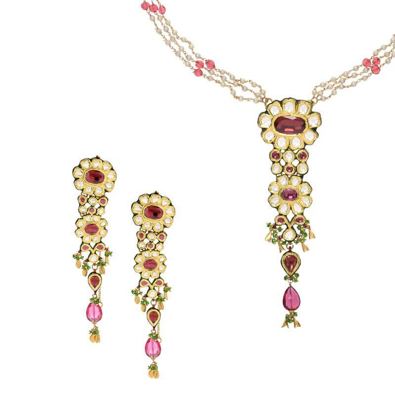 22k Gold Suruchi Kundan Necklace Set
