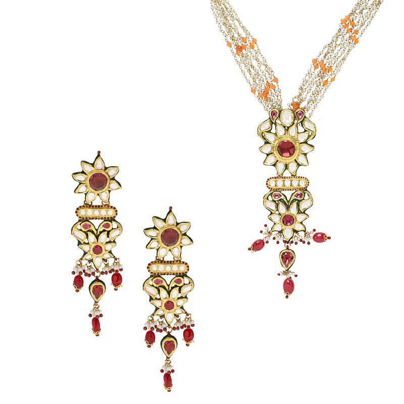 22k Gold Kundan Floral Necklace Set