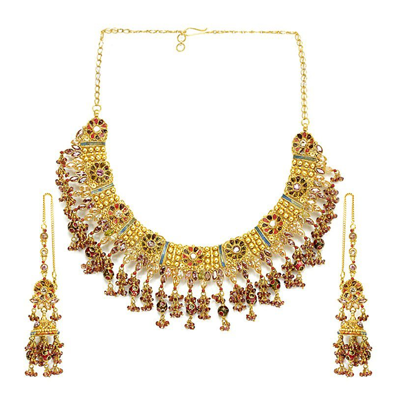 22k Gold Colorful Danglings Necklace