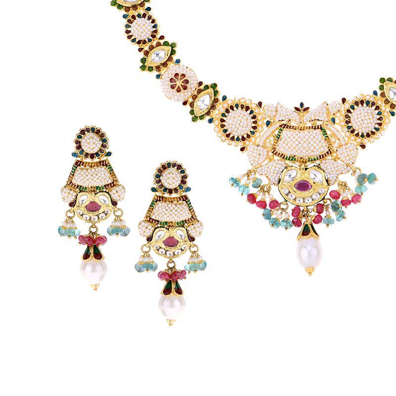 22k Gold Kaneez Basra Pearl Necklace