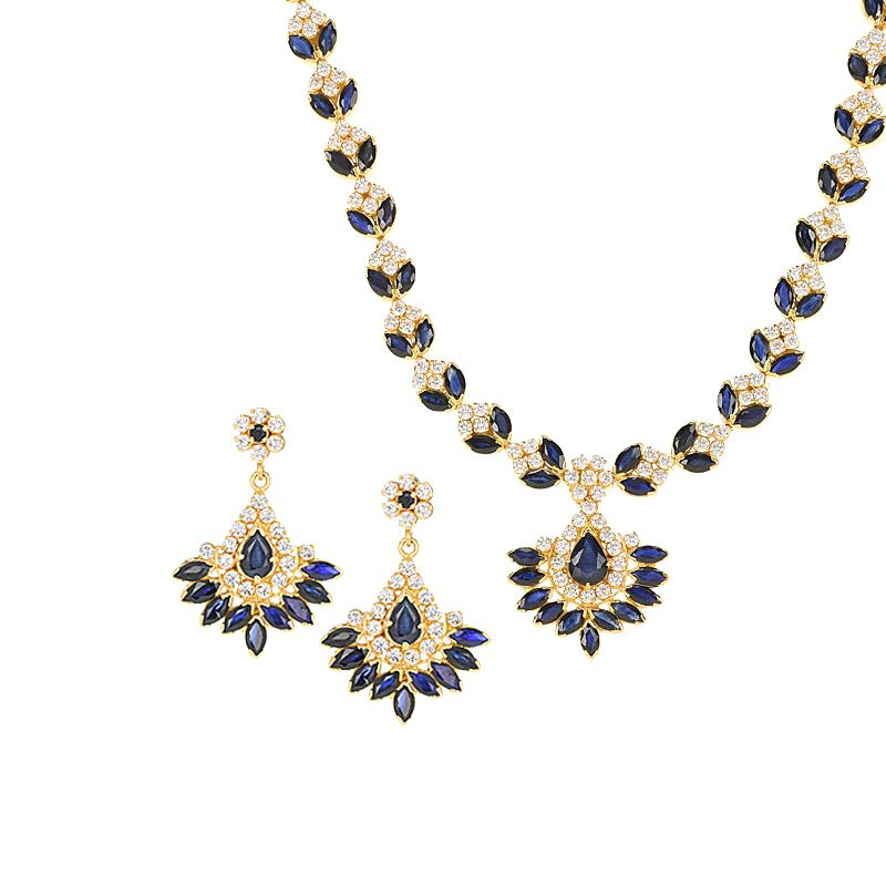 22k Gold Sapphire Cz Necklace Set