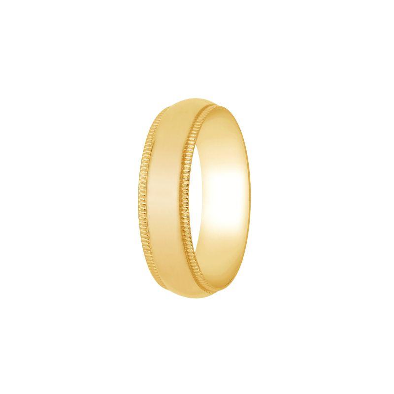 22k Gold Half Round Milgrain Comfort Band