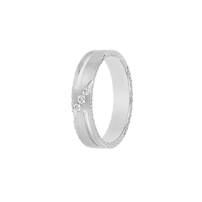 950 Diamond 3-Stones Groove Ring