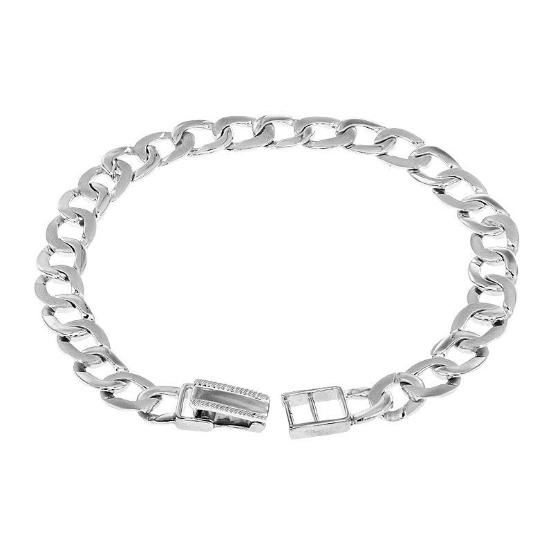 950 Platinum Platinum Wide Curb Bracelet