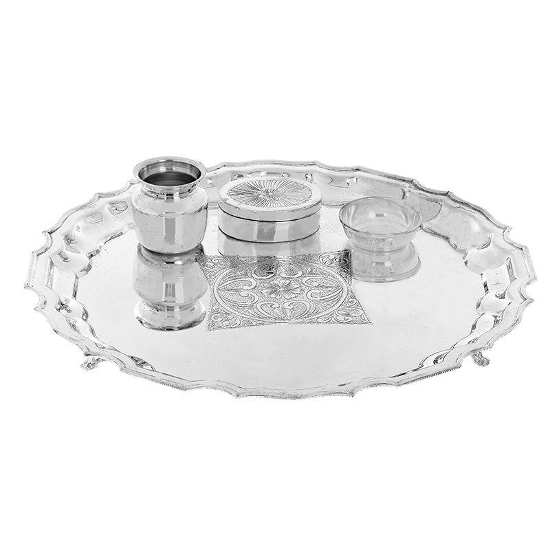 0.925 Silver Lustrous Silver Pooja Thali