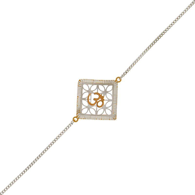 0.925 Silver Om Rose Silver Rakhi